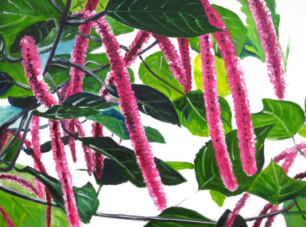 """Chenille Flowers"" original fine art by Julia Lu"