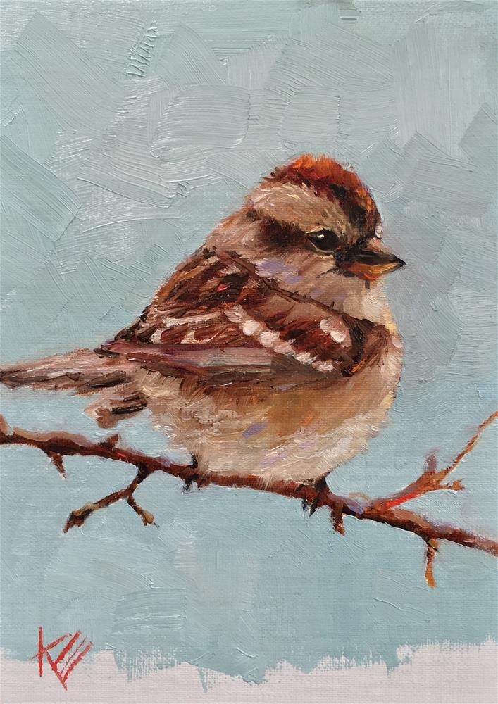 """American Tree Sparrow"" original fine art by Krista Eaton"