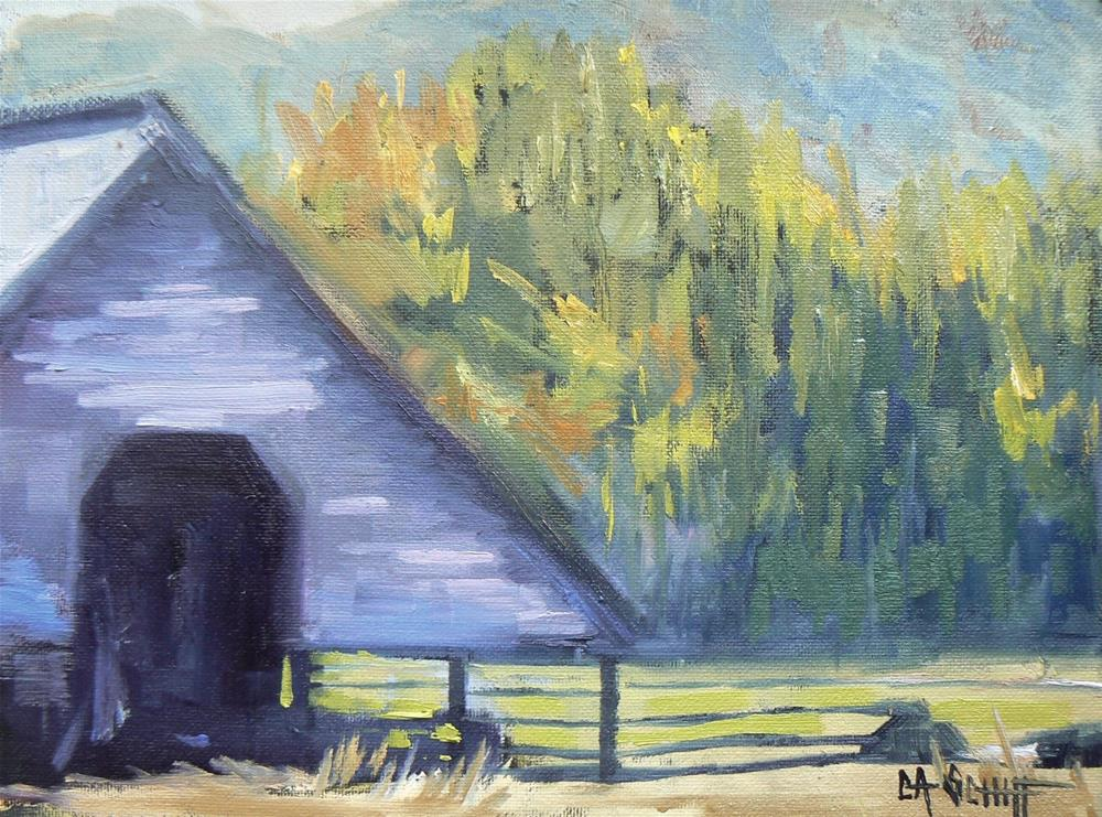 """Painting on Sale, Daily Painting, Small Oil Painting, Blue Ridge Barn by Carol Schiff, 6x8 Origina"" original fine art by Carol Schiff"