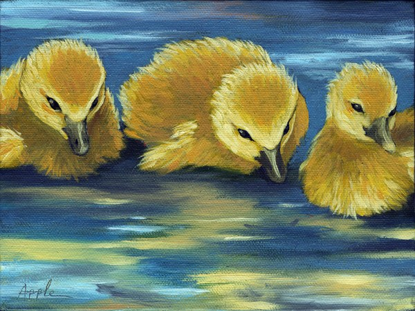 """Three Little Ducklings - animal oil painting"" original fine art by Linda Apple"