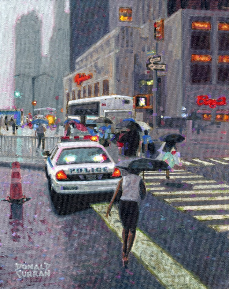 """Rainy Day New York"" original fine art by Donald Curran"