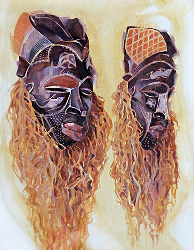 """Zulu Tribal Masks"" original fine art by Shawn Shea"