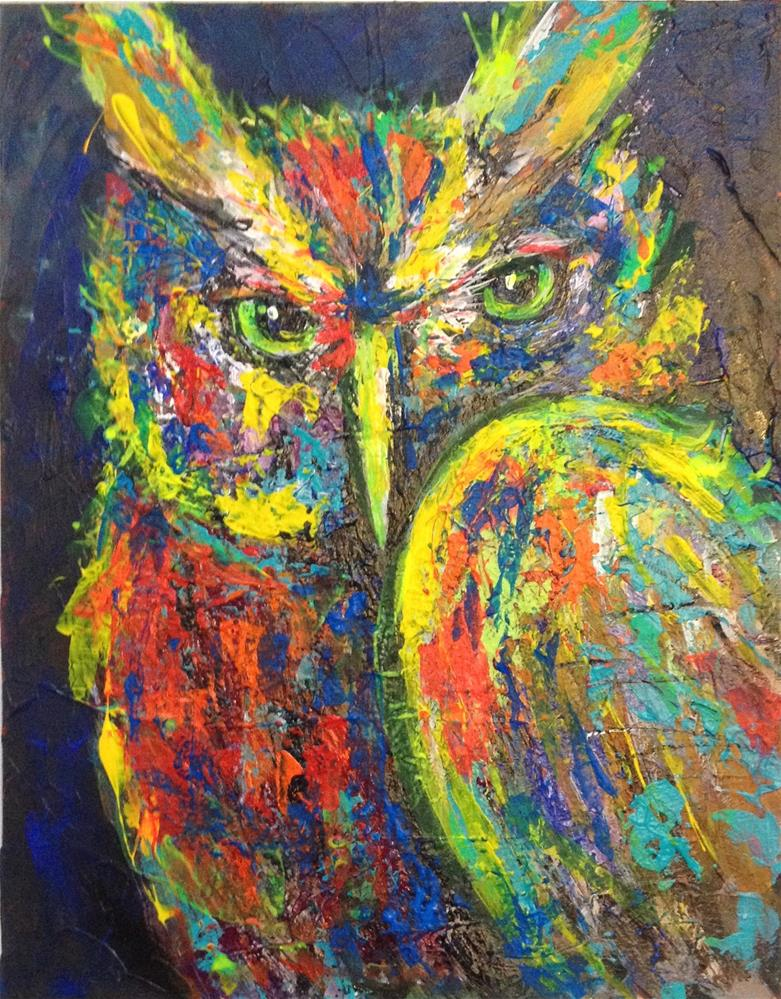 """11x14 Acrylic Psychedelic Owl Abstract Impressionistic Impasto by Penny Stewart"" original fine art by Penny Lee StewArt"