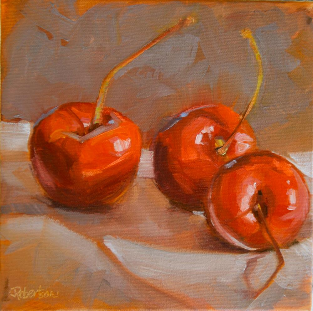 """Three Cherries"" original fine art by Jane Robertson"