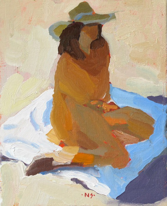 """Blanket Figure with Hat 12041  (in a private collection)"" original fine art by Nancy Standlee"