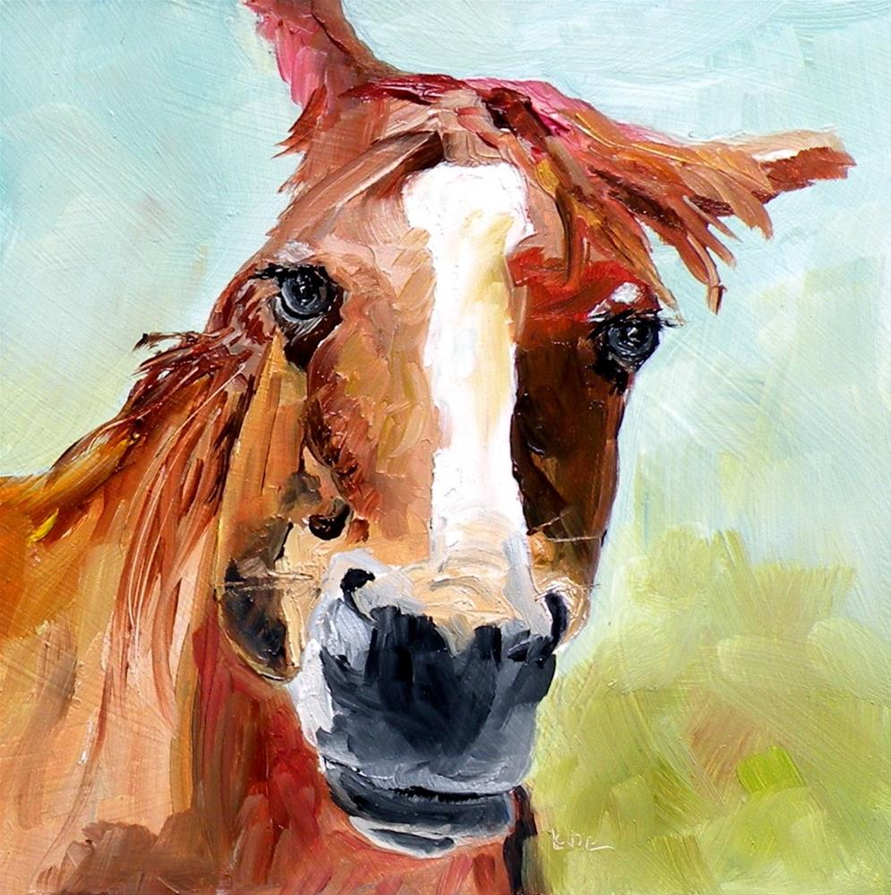 """SWEET GIRL - A HORSE ORIGINAL OIL ON PANEL MINI © SAUNDRA LANE GALLOWAY"" original fine art by Saundra Lane Galloway"