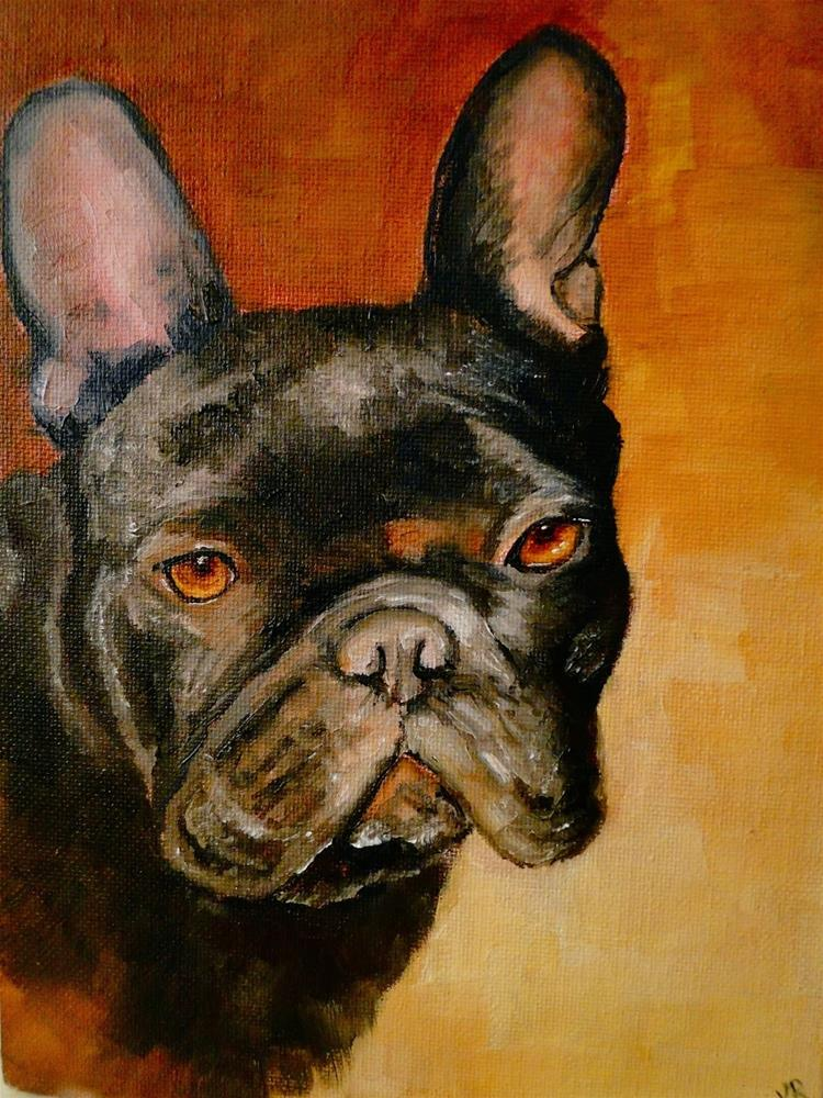"""Frenchie 3 & something about colour mixing"" original fine art by Karen Robinson"