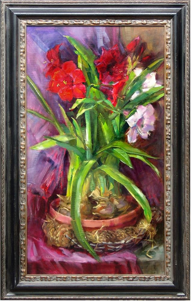"""Red Amaryllis II"" original fine art by Barbara Schilling"