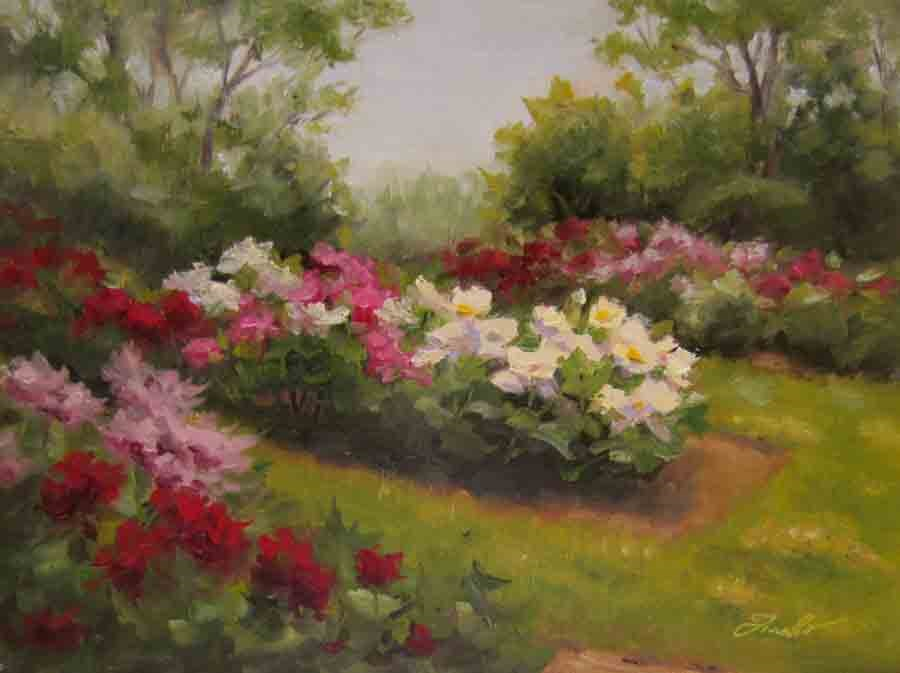 """Peony Garden"" original fine art by Pat Fiorello"