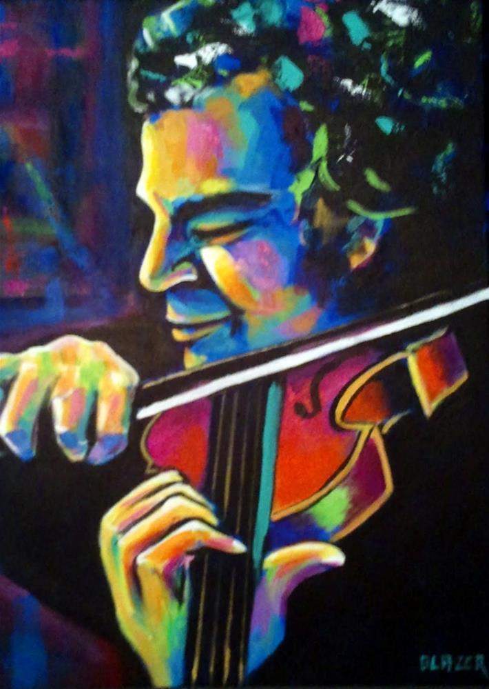 """Itzhak Perlman"" original fine art by Stuart Glazer"