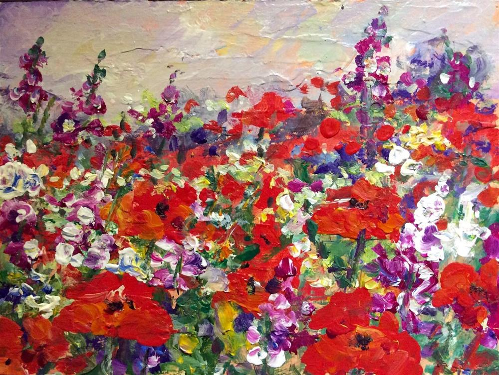 """Poppies and wild flowers field"" original fine art by Sonia von Walter"