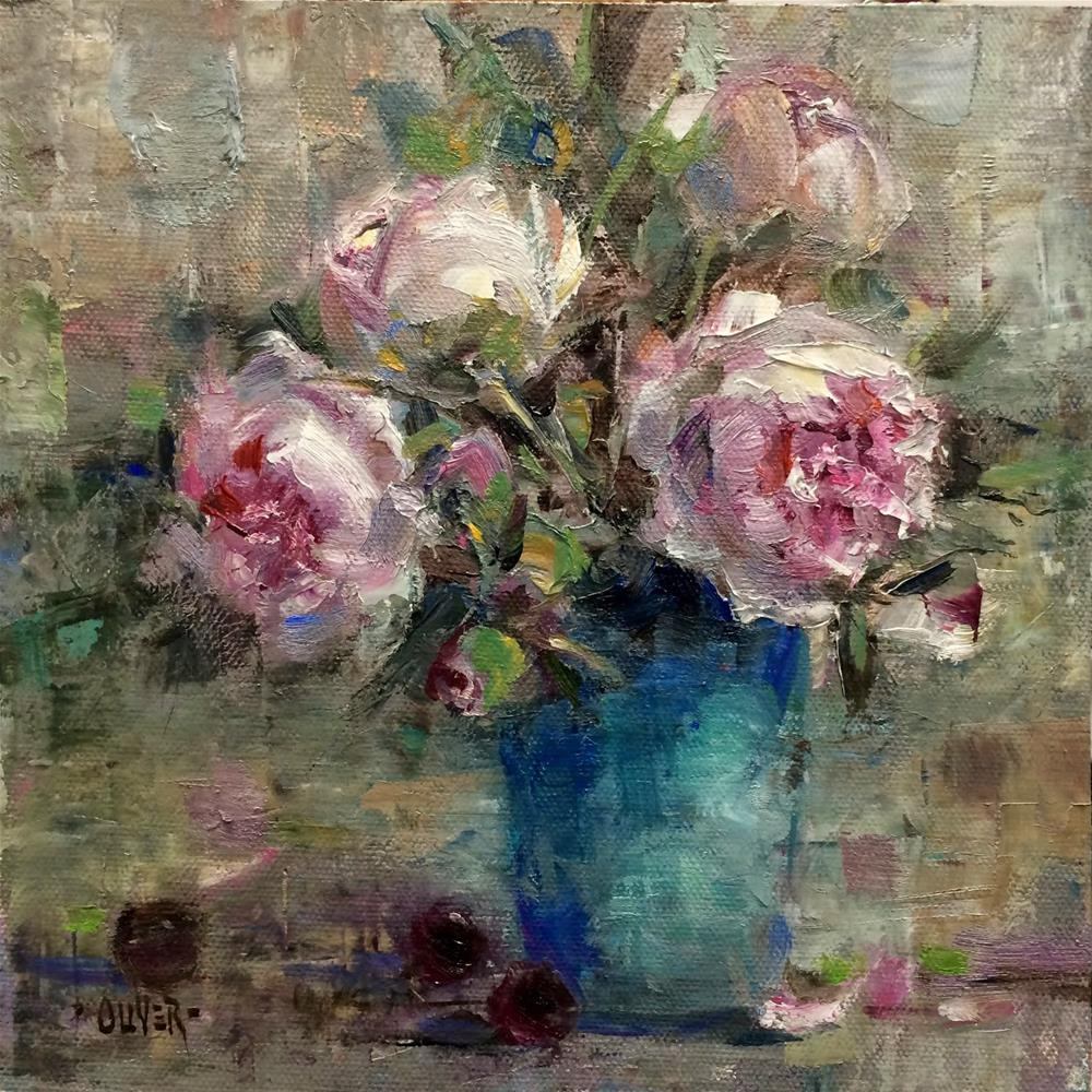 """Another Peony Painting #3"" original fine art by Julie Ford Oliver"
