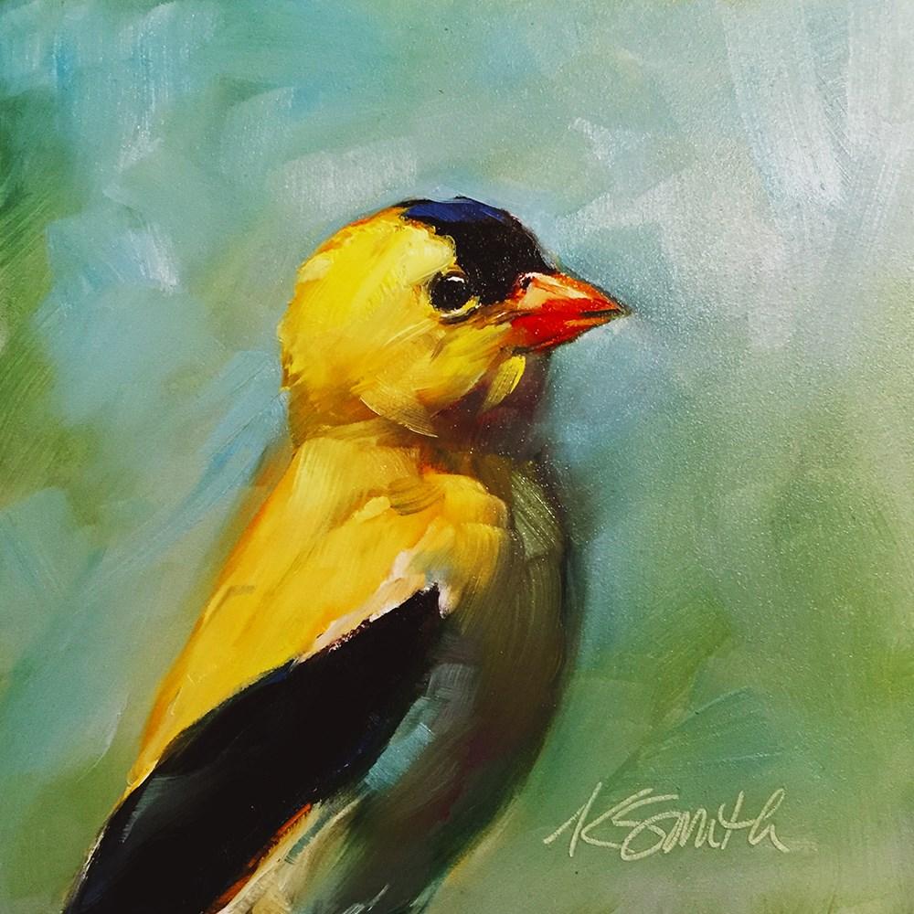 """gold finch"" original fine art by Kim Smith"