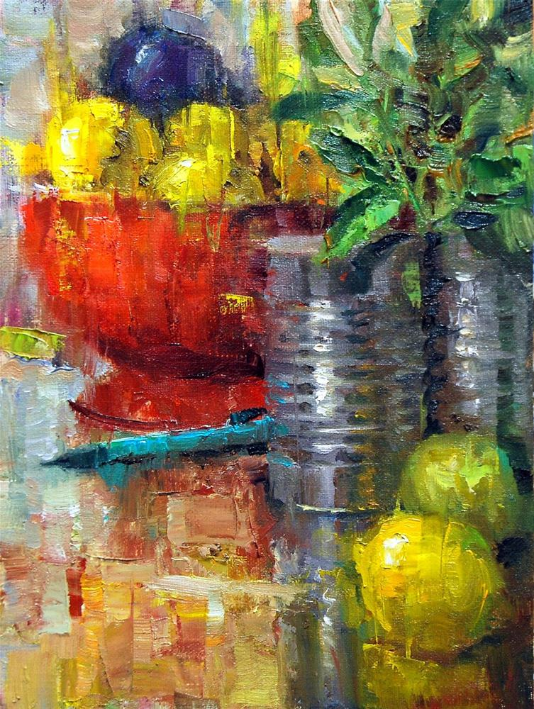 """Pencil with Lemons"" original fine art by Julie Ford Oliver"