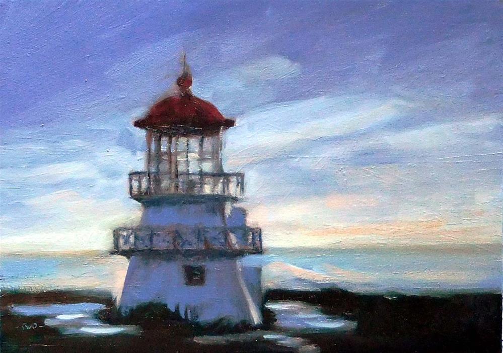 """Lighthouse, Dusk"" original fine art by Cietha Wilson"