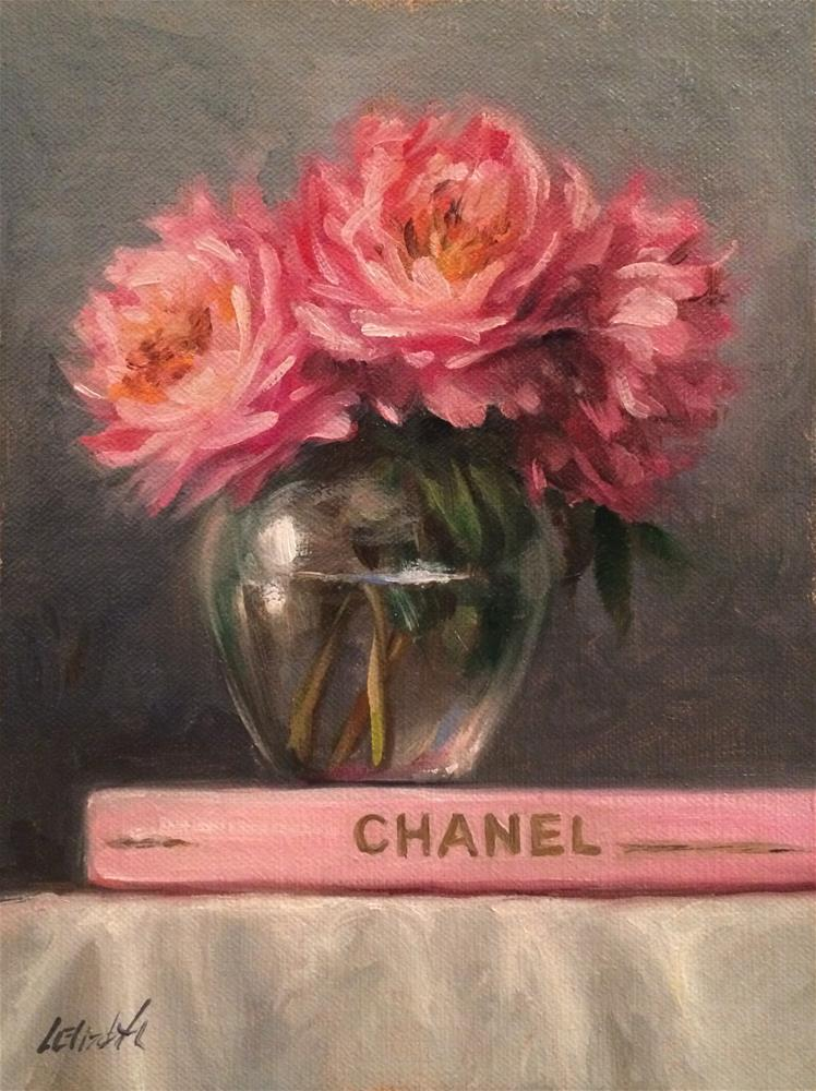 """Chanel Book Collection with Pink Peonies 6x8 Oil on linen panel"" original fine art by Carolina Elizabeth"