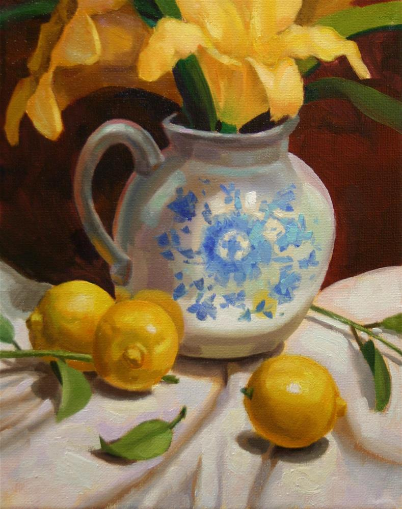 """Lemons and Flowers"" original fine art by K.R. McCain"