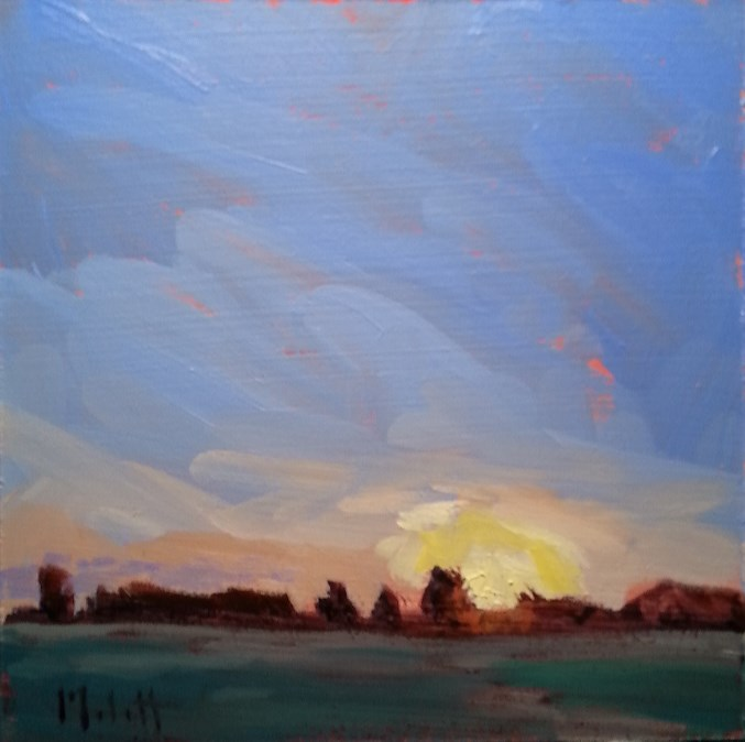 """Autumn Blaze Sunset Landscape Oil Painting Impressionism"" original fine art by Heidi Malott"