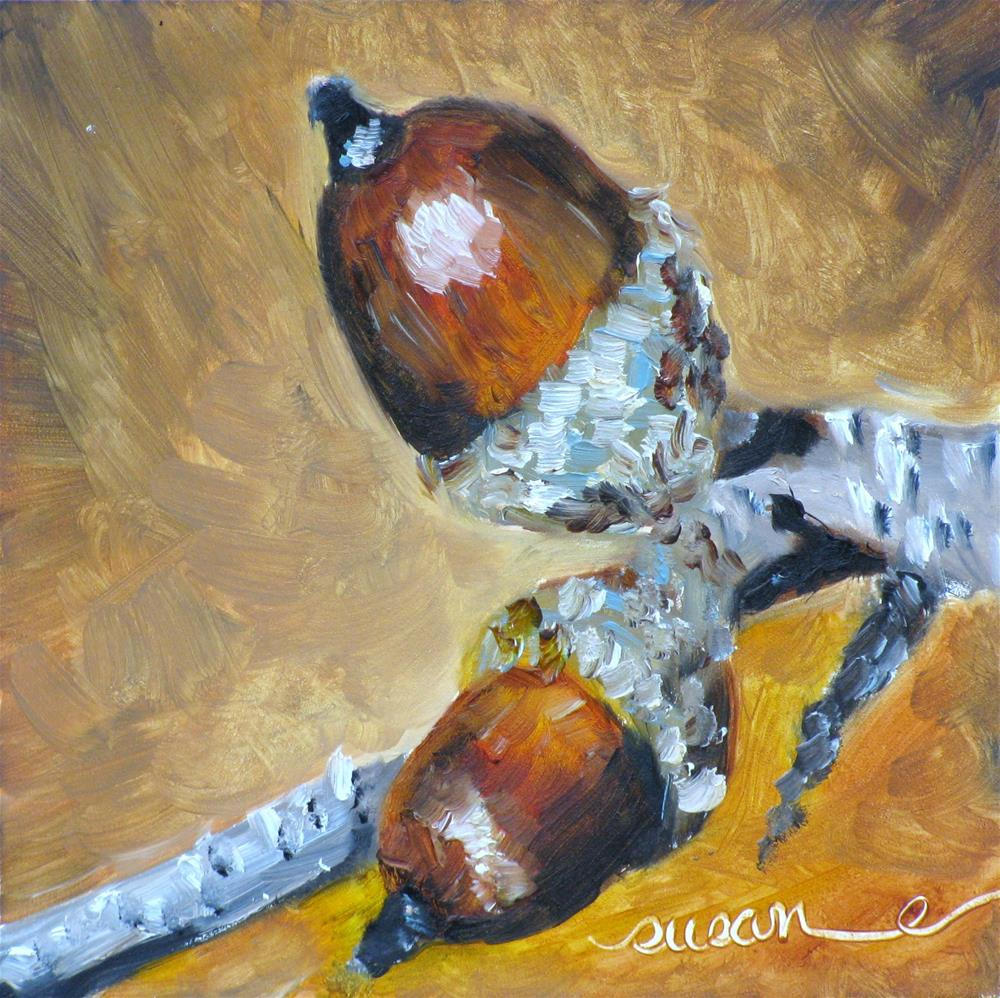 """Autumn Acorns"" original fine art by Susan Elizabeth Jones"