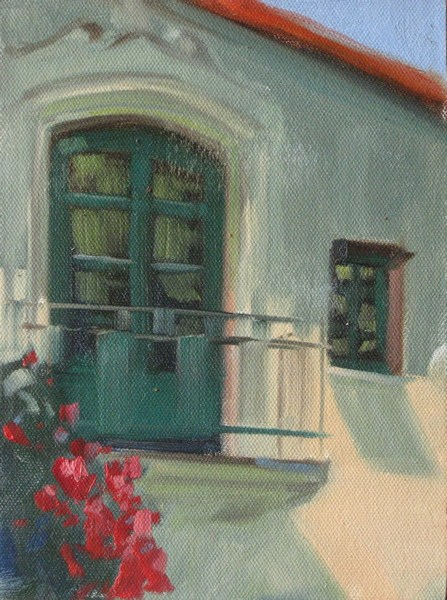 """Balcony  6x8 oil"" original fine art by Claudia Hammer"