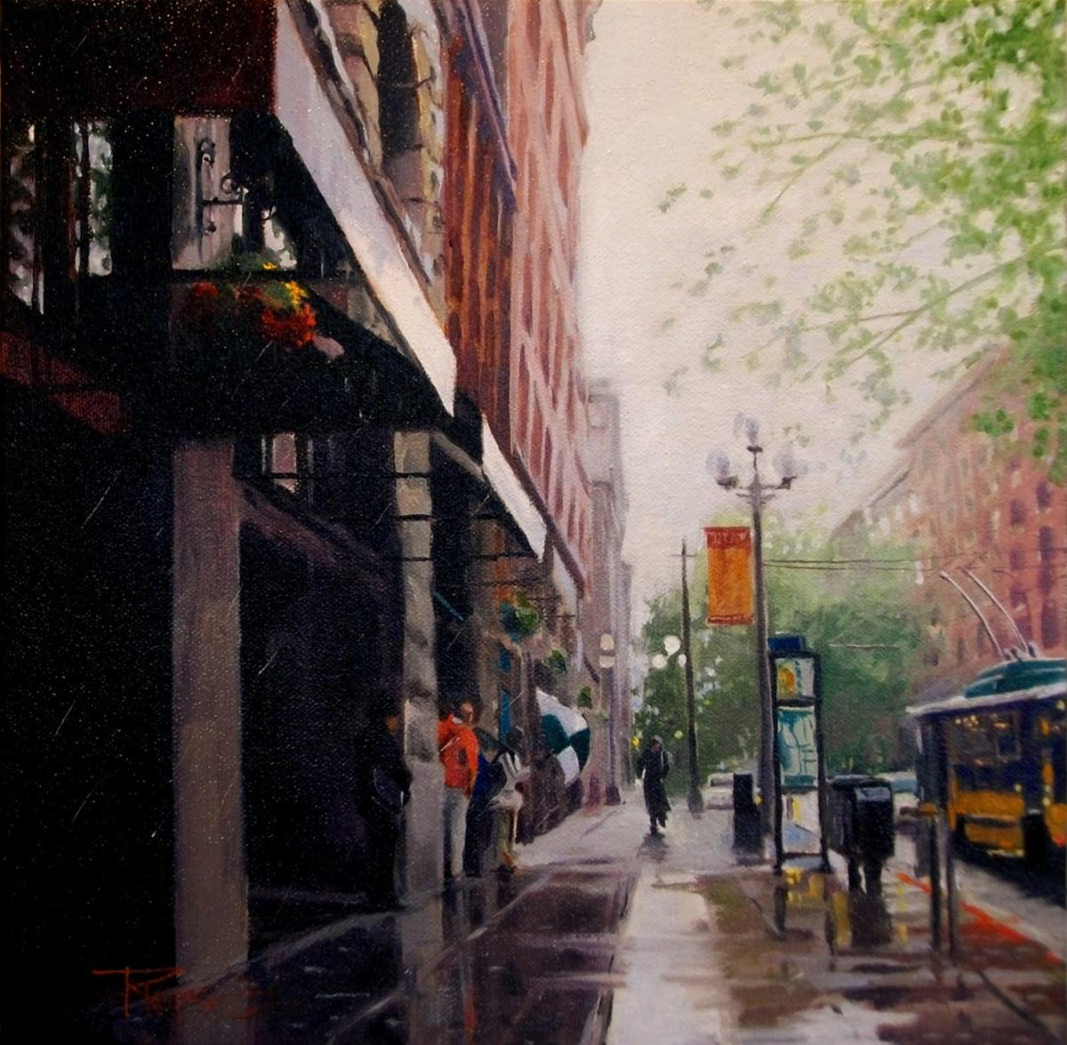 """Rain Walker  Seattle city oil painting"" original fine art by Robin Weiss"