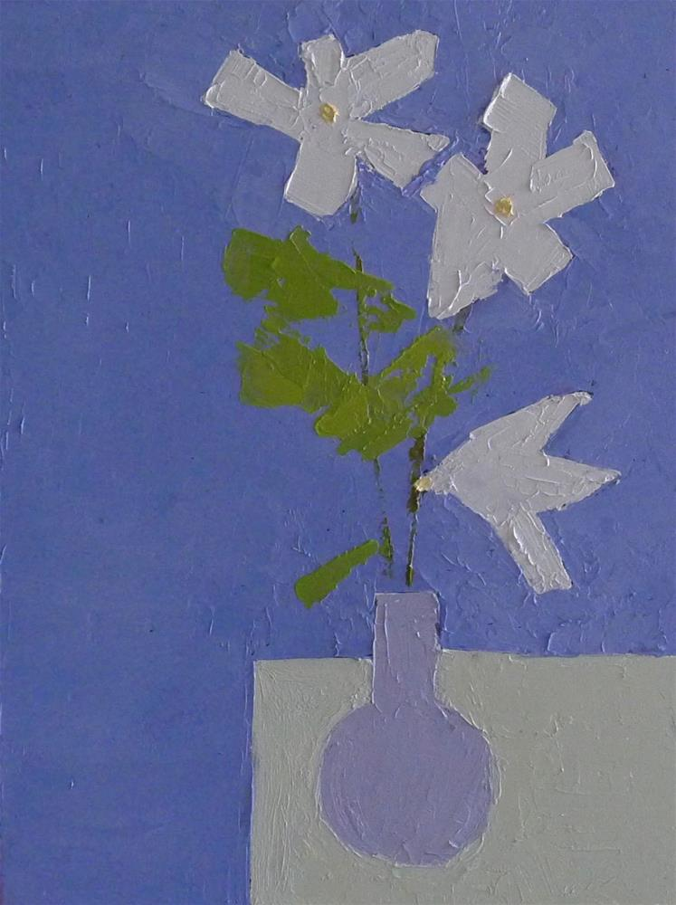 """FLOWERS IN BLUE VASE"" original fine art by Linda Popple"