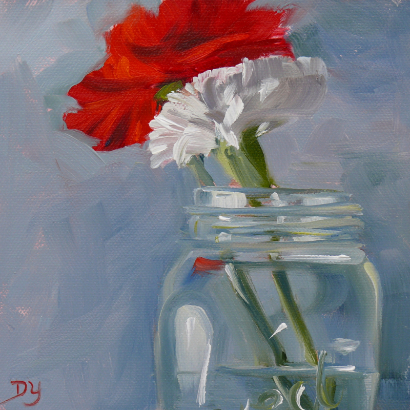 """Red and White Carnations, How We Met, oil on canvas board, 6x6"" original fine art by Darlene Young"