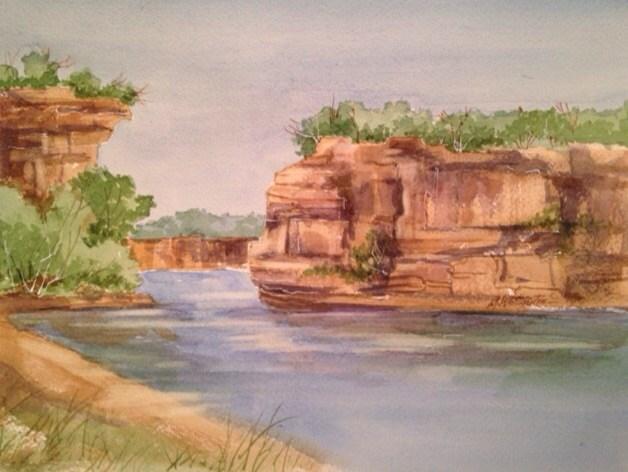 """Hell's Gate Possum Kingdom Lake"" original fine art by Margie Whittington"
