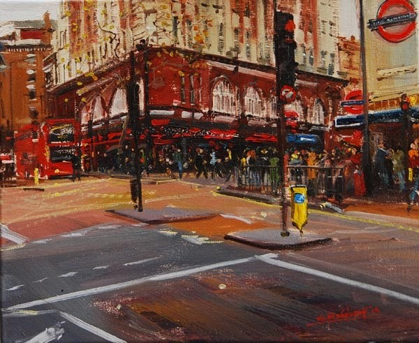 """Evening Light, Leicester Square"" original fine art by Adebanji Alade"