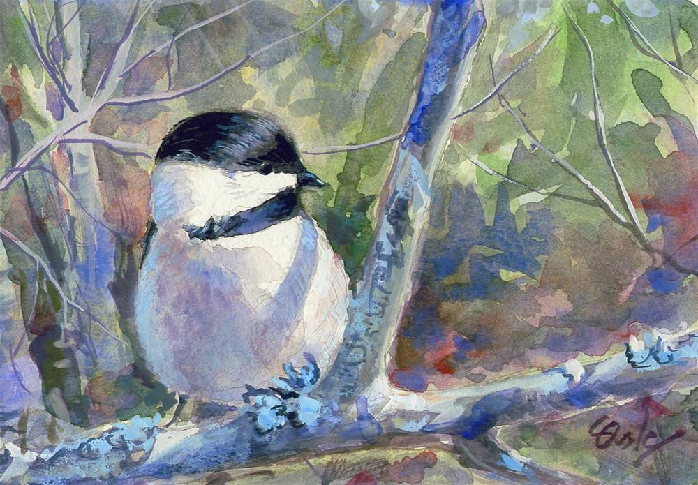 """Little Chickadee"" original fine art by Chris Ousley"