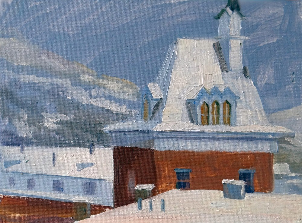 """Park City in the Snow"" original fine art by Nancy Paris Pruden"