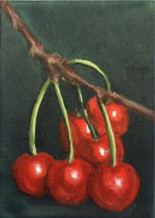 """A Bunch of Cherries ACEO"" original fine art by Amy VanGaasbeck"