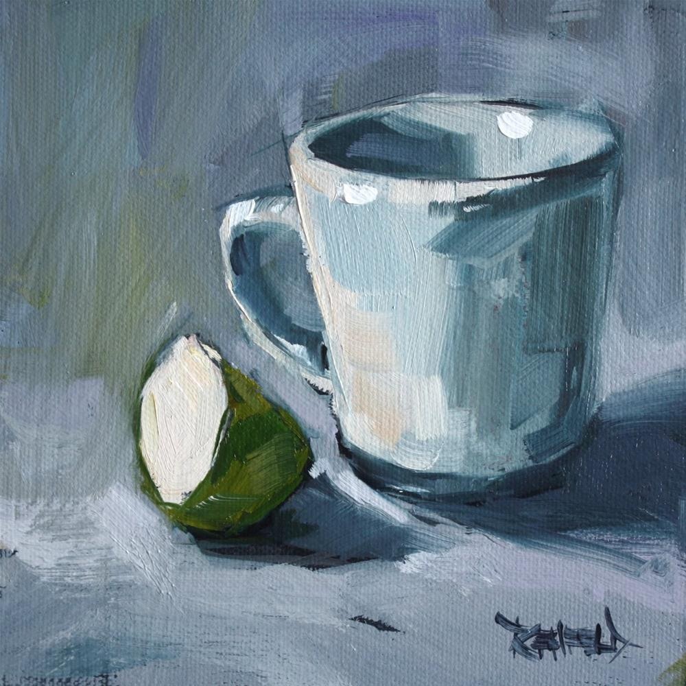 """Slice of Green Apple"" original fine art by Cathleen Rehfeld"
