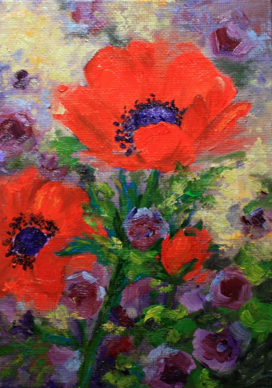 """Crimson and Purple"" original fine art by Jean Nelson"