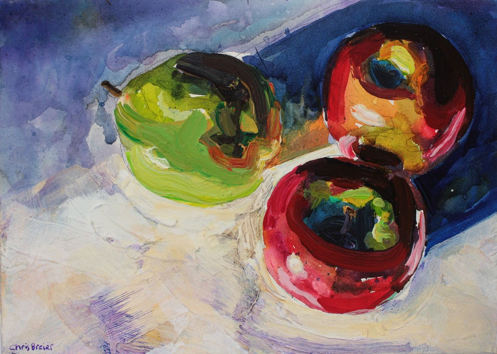 """Two Apples and a Pear"" original fine art by Chris  Breier"