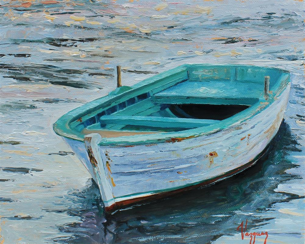 """Lonely boat 2"" original fine art by Marco Vazquez"