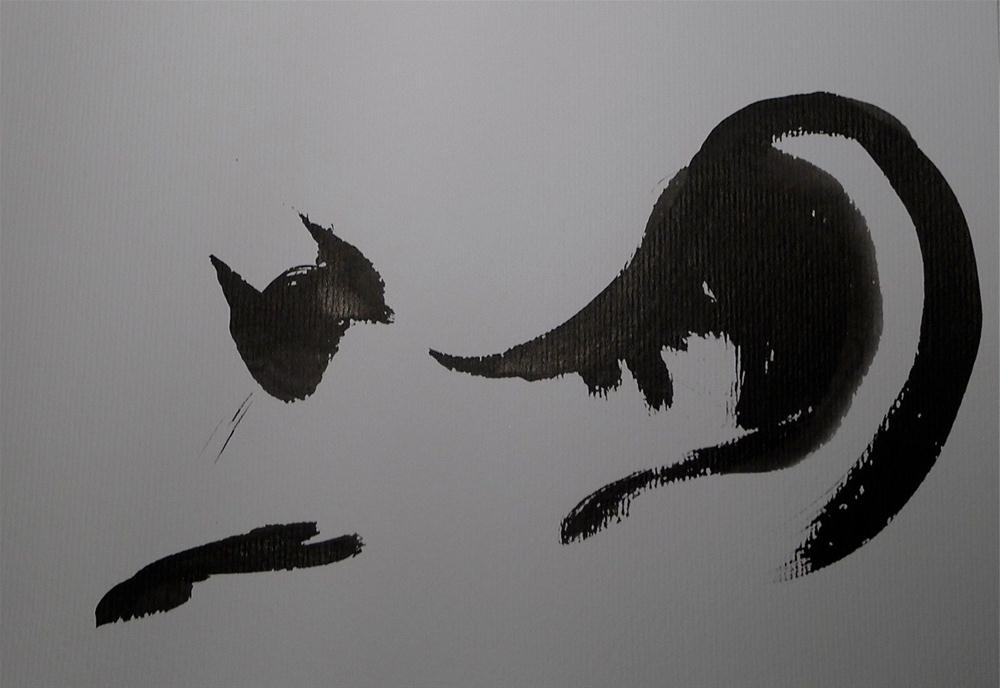 """Cat - stretching"" original fine art by Ulrike Schmidt"