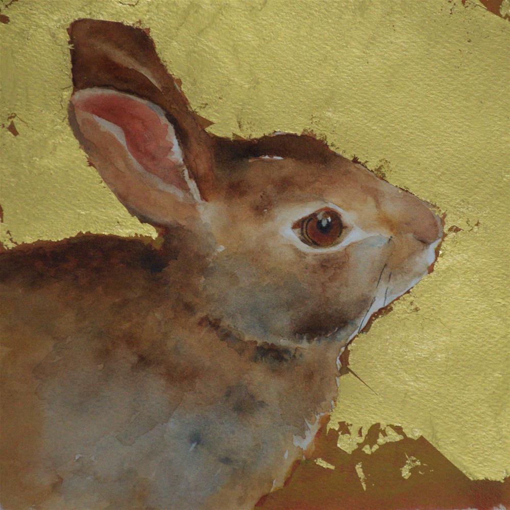 """Gold leaf rabbit"" original fine art by Sue Churchgrant"