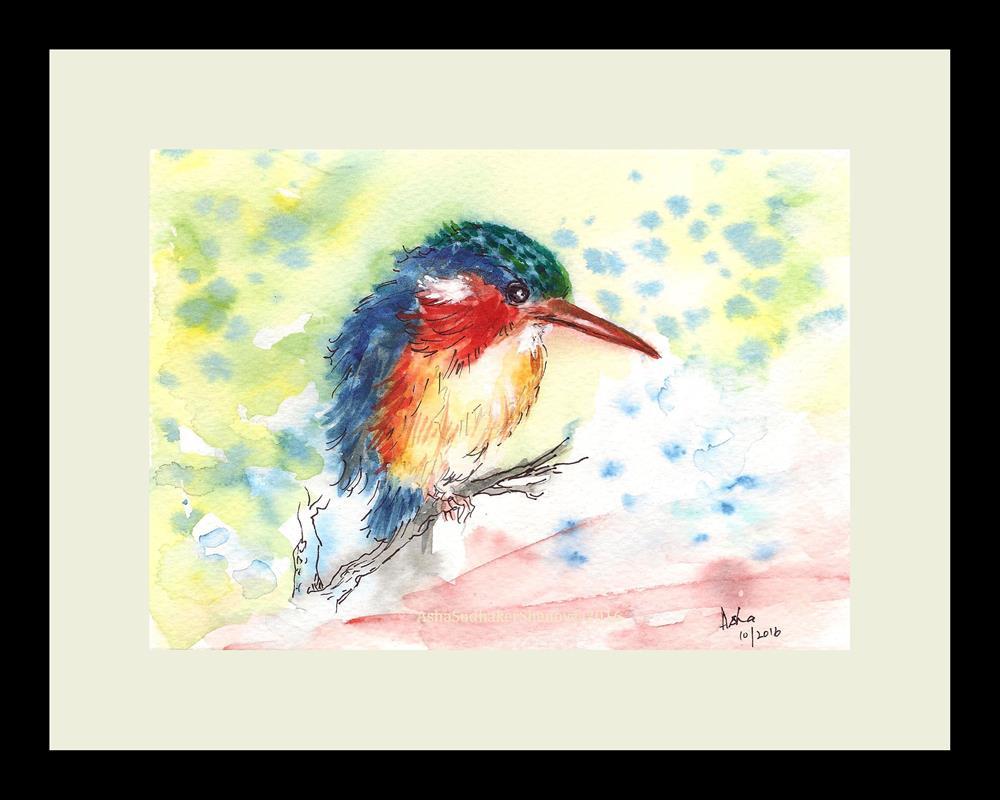 """Little Kingfisher"" original fine art by Asha Shenoy S"