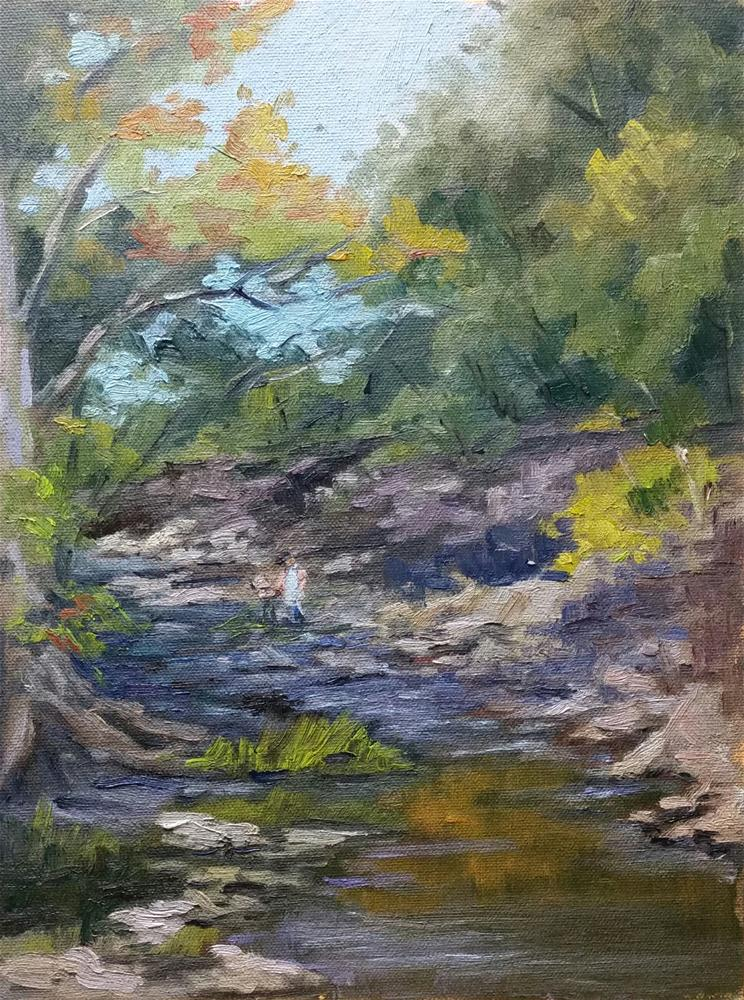 """Painter in Coyne Creek-en plein air"" original fine art by Veronica Brown"