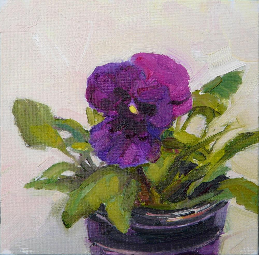 """First Purple Pansy,still life,oil on canvas,6x6,price$200"" original fine art by Joy Olney"
