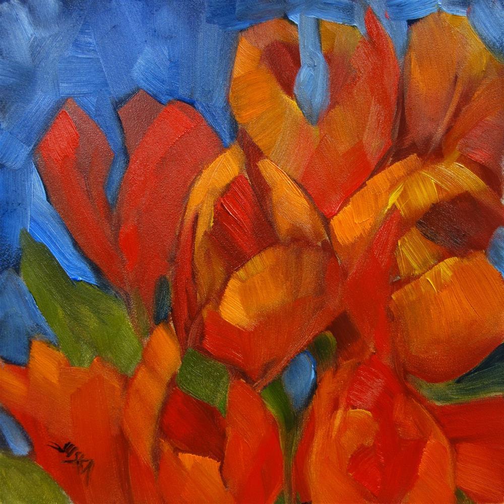 """Flaming Tulips"" original fine art by Elaine Juska Joseph"