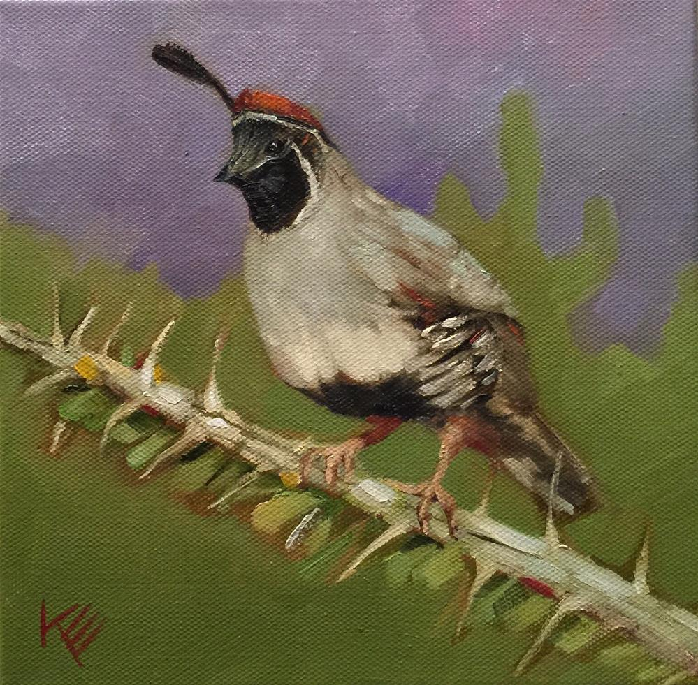 """Quail on Ocitillo cactus"" original fine art by Krista Eaton"