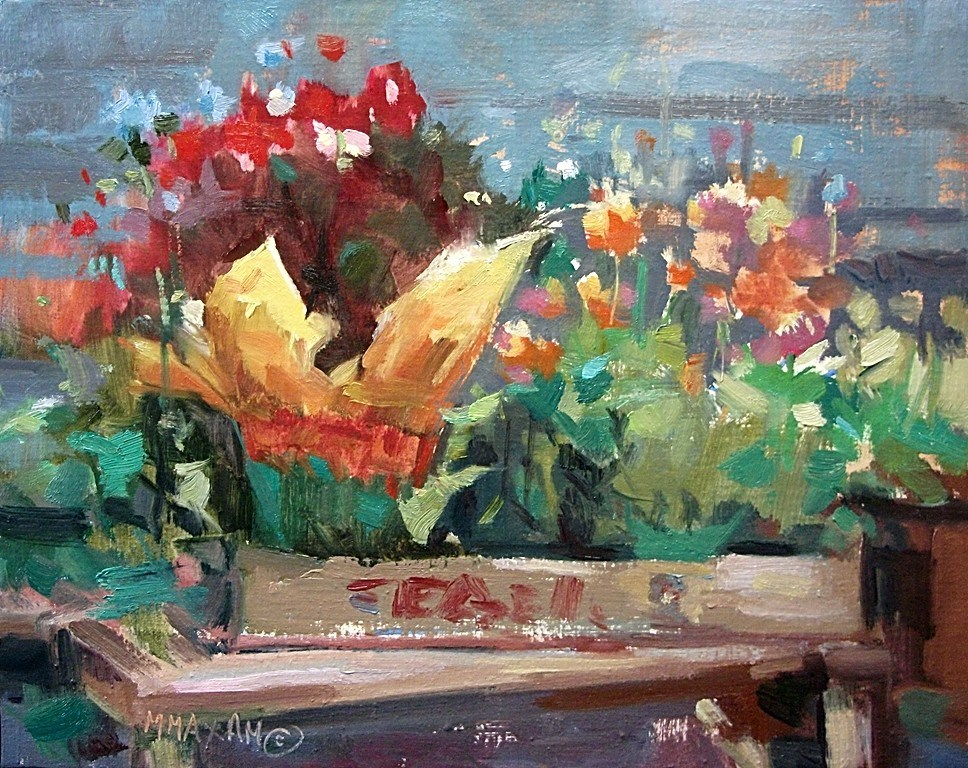"""Flower Gems - bedding plants and color"" original fine art by Mary Maxam"