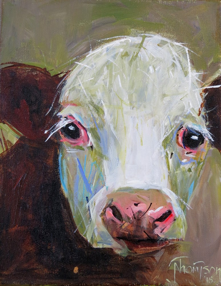"""Moo Cow"" original fine art by Norma Thompson"