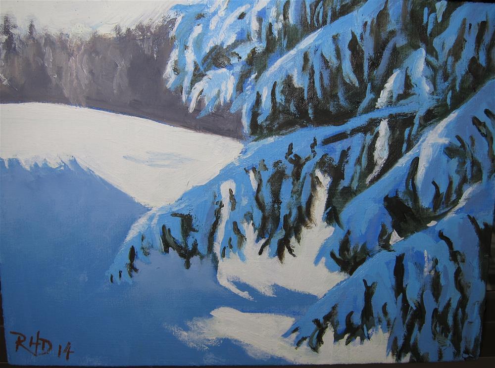 """Melville Park after a Fresh Snowfall"" original fine art by Richard Doyle"
