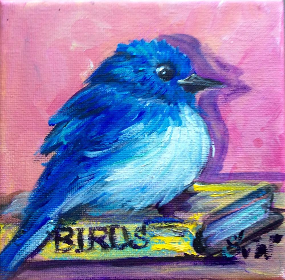 """Bluebird with a book"" original fine art by Sonia von Walter"
