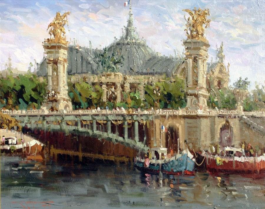"""Pont Alexandre III(Paris)"" original fine art by Mostafa Keyhani"