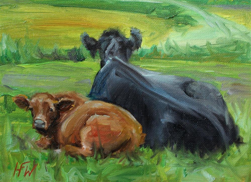 """""""Fat Red Calf"""" original fine art by H.F. Wallen"""