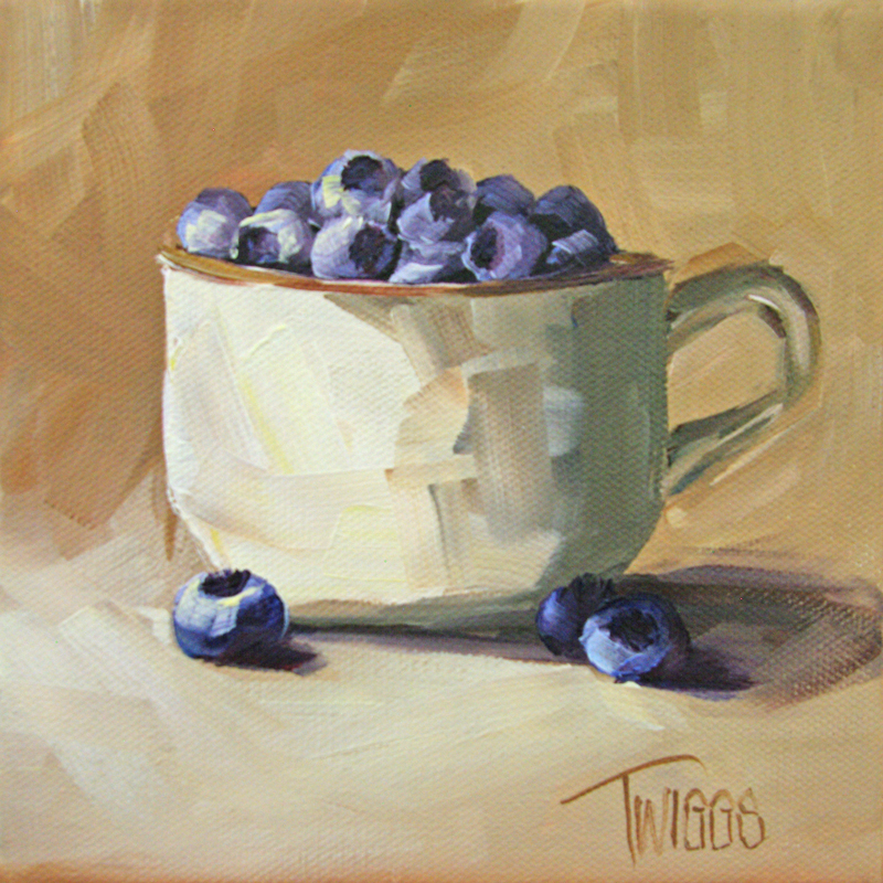"""Cup O Blueberries"" original fine art by Lori Twiggs"